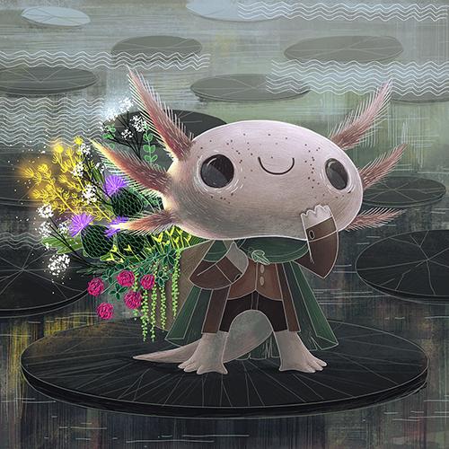 axolotl adventurer - character design challenge