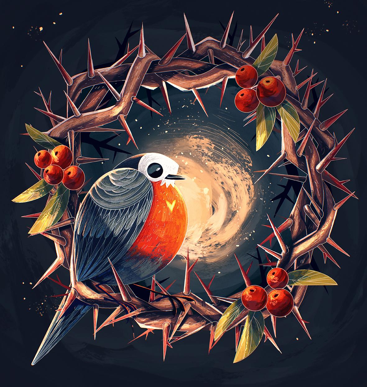 bird-illustration-robin-thorns